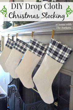 DIY Drop Cloth Christmas Stocking using drop cloth and plaid fabric for a vintage stocking. #diy #sewing #christmas #christmascrafts Christmas Mantels, Plaid Christmas, Rustic Christmas, Winter Christmas, Christmas Decorations, Merry Christmas, Christmas Stocking Pattern, Christmas Sewing, Christmas Projects
