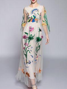 Vestido bordado maxi -albaricoque-Spanish SheIn(Sheinside)
