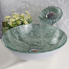 Bathroom Tempered Glass Vessel Vanity Sink Bowl with Waterfall Faucet Combo Set   eBay