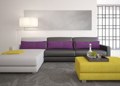 GOOD MORNING ART WORLD: 10 NUEVAS TENDENCIAS DE DECORACIÓN 2018 Warm And Cool Colors, Color Blocking, Plush Carpet, Carpet Runner, House Colors, Living Room Modern, Accent Colors, Home Decor, Grey Carpet