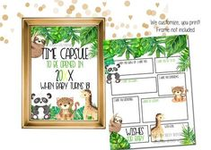 Customized Baby Shower Time Capsule Printable - jungle theme baby shower time capsule sign and card that we customize for you. This printable baby time capsule is a great memory down the road for baby! Have guests fill out the time capsule card. We customize for you, all you do is print #babyshowertimecapsule #babytimecapsulekit #babytimecapsulesign #babytimcapsulecard #babyshowerguestbook #guestbookalternative Safari Birthday Party, Kids Birthday Party Invitations, Printable Baby Shower Invitations, Baby Shower Printables, First Birthday Parties, First Birthdays, Baby Shower Advice, Baby Shower Themes, Shower Ideas