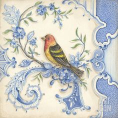 """Chinoiserie Aviary I"" Art Print by Kate McRostie at Art.com"