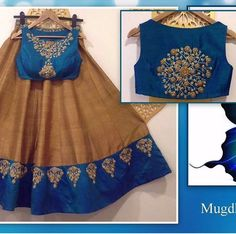 Blue and brown designer lehenga choli FABRIC: Raw silk lehnga Banglori silk blouse Georgette duppata Sale Price : 3450 INR Only ! CASH ON DELIVERY Available In India ! World Wide Shipping ! For orders / enquiry WhatsApp @ Or Inbox Us Worldwide Shipping ! Lehenga Choli Designs, Saree Blouse Designs, Frock Design, Indian Attire, Indian Wear, K Fashion, Indian Fashion, Indian Dresses, Indian Outfits