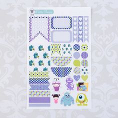 W143 // Monsters Inc Weekly Theme Stickers - Disney Planner Stickers