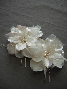Bridal Flowers, 2 Piece Ivory Hair Set, Fresh Water Pearls, Rhinestones, Wedding Head Piece