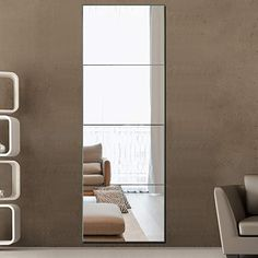 """Amazon.com: PexFix Full Length Mirror, Wall Mirror Tiles Set of 4, Frameless Mirror, Large Size Rectangular Glass Flat Decoration Mirrors for Bathroom, Living Room or Bedroom - 12"""" X 16"""" (4 Piece/Set): Kitchen & Dining Full Length Mirror Frameless, Long Mirror, Mirror Set, Small Master Bedroom, Living Room Bedroom, Teen Bedroom, Dressing Mirror, Mirror Tiles, Small Bedrooms"""