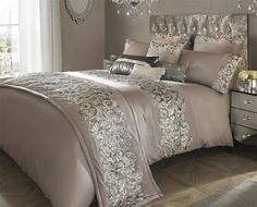 KYLIE MINOGUE PETRA NUDE SATIN SUPER KING 200TC 100% COTTON 7 PIECE BEDDING SET