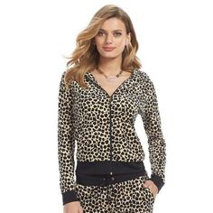 43373af5a34c Juicy Couture Natural Leopard Velour Hoodie Sz S NEW  fashion  clothing   shoes