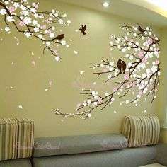 Items similar to Cherry Blossom Branches with Birds - Vinyl wall sticker- wall decal- tree decals- wall murals art - nursery wall decals- Floral-Nature on Etsy Wall Painting Decor, Tree Wall Decor, Mural Wall Art, Nursery Wall Decals, Vinyl Wall Stickers, Tree Wall Art, Tree Wall Murals, Painting Walls, Mirror Stickers