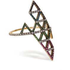 Lito Gold, Diamond, and Tsavorite Triangle Ring (4 425 250 LBP) ❤ liked on Polyvore featuring jewelry, rings, gold, triangle diamond ring, gold diamond jewelry, diamond cocktail rings, gold jewelry and statement rings