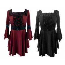 GOTHIC MEDIEVAL CORSET LACE UP RAVEN TOP BLACK or RED 10-24
