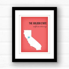 California...The Golden State...the land of Sunshine!  California Dreamin....Californication...Goin Back to Cali From the Mamas and the Papas to LL Cool J and everyone else in between - there have been hundreds of songs written about The Golden State. Home to Hollywood, sprawling vineyards, and landscapes ranging from tall mountains to low deserts, Californias got it all!  ________________________________________________________ GIMME ALL THE DETAILS:  —Print measures 11x14 and has a small…