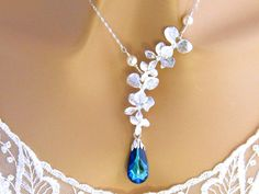 Blue Bridal Necklace, Swarovski Bermuda Blue Wedding Necklace, Orchid Wedding Jewelry Peacock Blue Bridesmaid Necklace, Peacock Wedding Prom by martywhitedesigns on Etsy