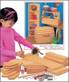 Young Woodworker's Project Kit - precut wood, hardware, glue, & instructions needed to complete 3 simple projects.