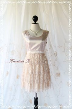 Sweet Romance Cocktail Dress - Champagne Color Prom Party Cocktail Wedding Bridesmaid Dress Satin Top With Lace Skirt XS-S. $41.20, via Etsy.