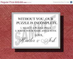 ON SALE Custom Designed Wedding Puzzle Piece by WeddingsByJamie, $7.50