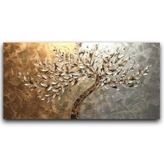 ORIGINAL Large Tree Abstract Landscape Oil Painting Modern Texture Wall Art Home…