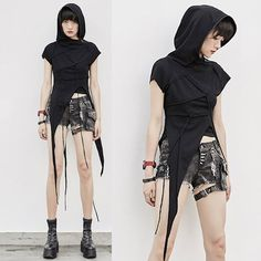Women Black Hooded Asymmetrical Gothic Punk Rock Fashion Tunic Top SKU-11409487