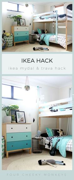 Fantastic Pics IKEA Mydal bunk bed hack over four cheeky monkeys Tips An Ikea youngsters' space remains to intrigue the kids, since they are offered much more than jus Bunk Beds With Stairs, Cool Bunk Beds, Kids Bunk Beds, Mydal Ikea, Ikea Bunk Bed Hack, Modern Bunk Beds, Ideas Hogar, Ikea Bedroom, Loft Spaces