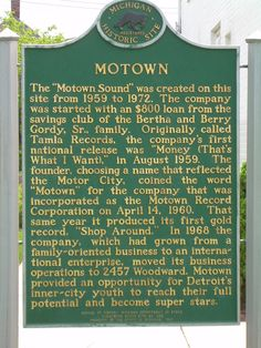 "Detroit, where it all began....lots of real HISTORY  ....some good....some not so good!  GM made this town...then you could also say MOTown made the town OVER! You go Diana Ross and Ladies! -""Ain't NO Mountain High Enough""!  Sing it and I am in MOTown....  ctc"