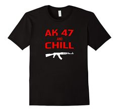 Mens AK 47 and Chill Shirt 2XL Black