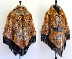 BoHo HiPPie SueDe LeaTher FrinGe GeNuiNe RaBBit FuR LeoPard PriNt CaPe CoaT JacKet PonCho . Free Size . Hanger. $440.00, via Etsy.