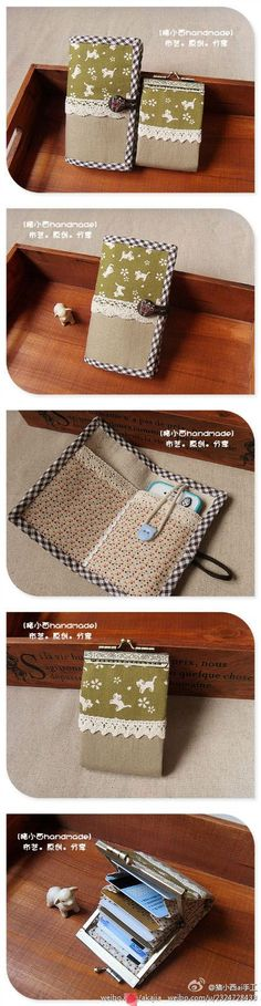 Cute phone case and card holder bag diy wallet, diy bags, se Diy Iphone Purse, Diy Phone Bag, Iphone Case, Diy Wallet, Wallet Tutorial, Sewing Hacks, Sewing Tutorials, Sewing Patterns, Fabric Crafts