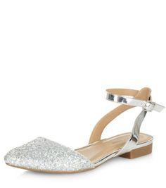 Silver Glitter Point Ankle Strap Sandals