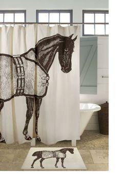 Thoroughbred Bath Mat ($40) and shower curtain