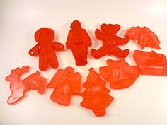 Nine 1960s Clear Red Plastic Cookie Cutters by Abbysfabric on Etsy, $8.50