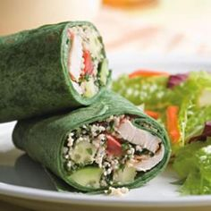 Mediterranean Wrap -- uses chicken tenders, the little pieces that are trimmed from boneless, skinless breasts (and can be less expensive). Sub quinoa for the couscous and wrap everything in a sprouted-grain tortilla.