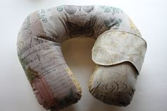 Adult Reversible Neck Pillow set includes Neck Pillow and Matching Eye Mask. Pattern is Parisian Vintage and Paris Map. Great For Travel