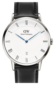 Free shipping and returns on Daniel Wellington 'Dapper Sheffield' Leather Strap Watch, 38mm at Nordstrom.com. Sapphire-blue sword hands add a pop of cool color to this sleek Daniel Wellington watch design featuring a classic Roman dial and a rich Italian leather strap.