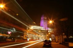Leeds University at Night, Leeds, West Yorkshire.