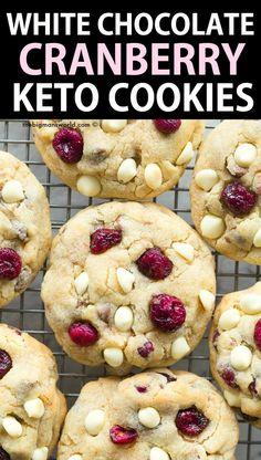 White Chocolate Cranberry Cookies, Vegan White Chocolate, Keto Chocolate Chip Cookies, Keto Cookies, Cookies Et Biscuits, Keto Biscuits, Low Carb Desserts, Low Carb Recipes, Free Recipes
