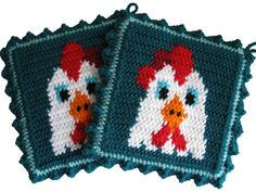 Chicken Pot Holders  Crochet roosters on teal by hooknsaw on Etsy, $17.20