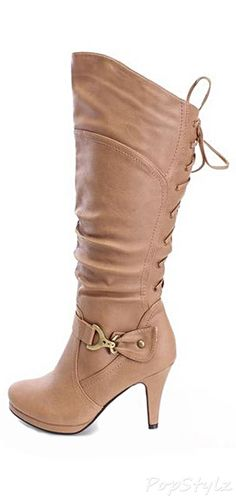 Top Moda Page-65 Knee High Lace-Up Slouched Boots