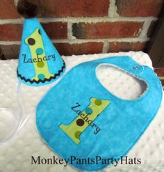 Custom Made 1st Birthday Boys Party Hat by MonkeyPantsPartyHats, $38.00