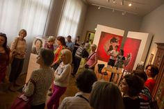 12.07.2015: Guided Tour of Lisa Mazzi, with the artist Giulia Filippi, through the exhibition of the Association Women Network Berlin at the Museum of European Cultures of Berlin. Artistic installation in the background by Giulia Filippi