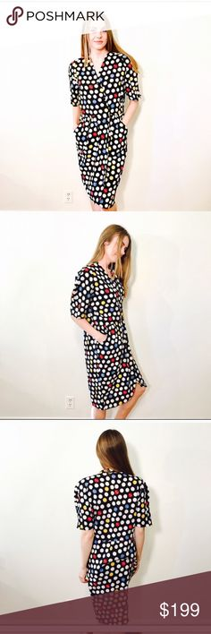 """VINTAGE NEIMAN MARCUS LINEN POLKA DOT DRESS #667 NEIMAN-MARCUS, Size 12, Polka dot shirt dress, full button up, Multi color, shoulder pads, short sleeve. CONDITION: GUC, item is missing the bottom button, pockets  CHEST: 42"""" WAIST: 33"""" LENGTH: 39"""" INSEAM:  *All measurements taken while item is laid flat (doubled when necessary) and measured across the front  MATERIAL: 100% Linen STRETCH: none INSTAGRAM @ORNAMENTALSTONE 🚫Trading Neiman Marcus Dresses"""
