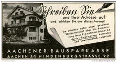 Original-Werbung/ Anzeige 1943 - AACHENER BAUSPARKASSE - ca. 65 X 35 mm