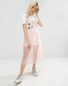 ASOS Mesh Pleated Slip Dress with Badges