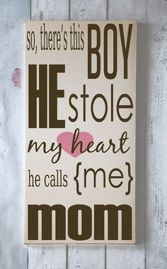 He Stole My Heart - Wooden Sign - Typography Word Art - Your Choice of Color - Home Decor. $55.00, via Etsy.