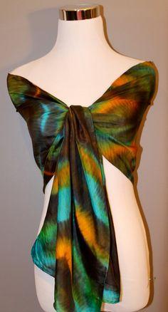 Hand painted silk scarf  Shibori  technique in by MJsilkscarfs