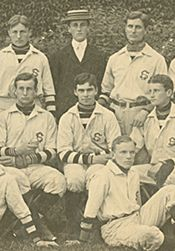 Franklin Roosevelt (back row, third from right) stands with the Groton baseball team.