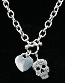 sterling silver day of the dead charm necklace with skull and heart