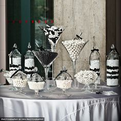 Black and White Candy Bar.So happening! Black White Parties, Black And White Theme, Black White Gold, Black And White Party Decorations, Black And White Centerpieces, Candy Buffet Tables, Candy Table, 40th Birthday Parties, Anniversary Parties