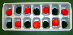 Use an ice cube tray to create patterns with noodles, pom poms, buttons, etc.!