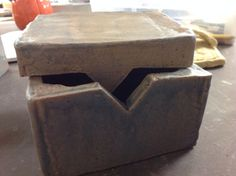 Stiff slab ceramic box with keyed lid.