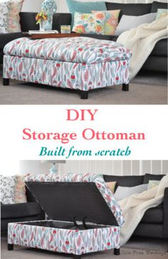 Make your own DIY upholstered storage ottoman - it is super easy! This tutorial covers everything - building the frame and upholstery